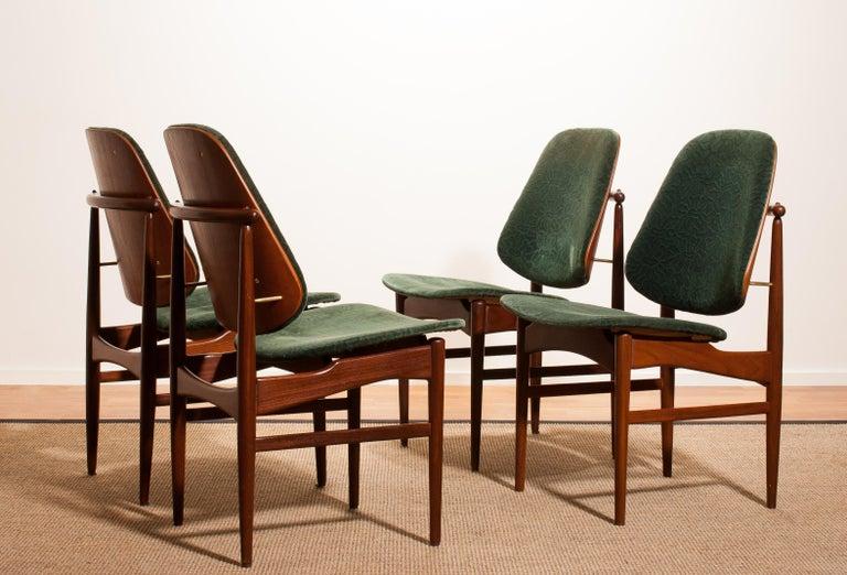 Mid-Century Modern 1950s, Set of Four Teak Dining Chairs by Arne Vodder for France & Daverkosen For Sale
