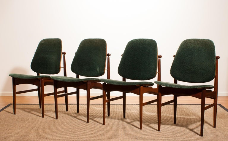 Danish 1950s, Set of Four Teak Dining Chairs by Arne Vodder for France & Daverkosen For Sale