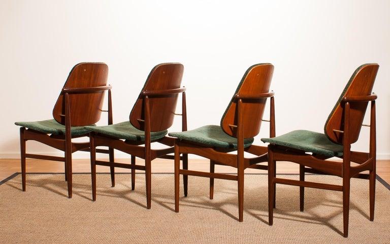 1950s, Set of Four Teak Dining Chairs by Arne Vodder for France & Daverkosen In Good Condition For Sale In Silvolde, Gelderland