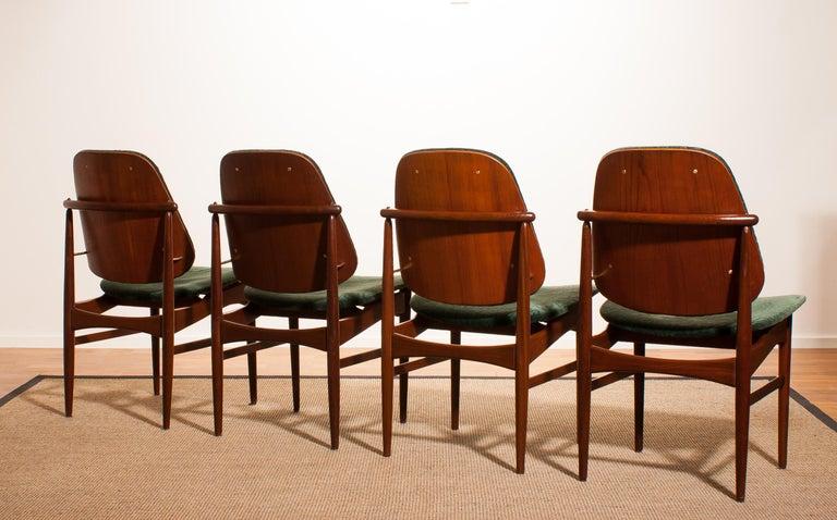 Mid-20th Century 1950s, Set of Four Teak Dining Chairs by Arne Vodder for France & Daverkosen For Sale