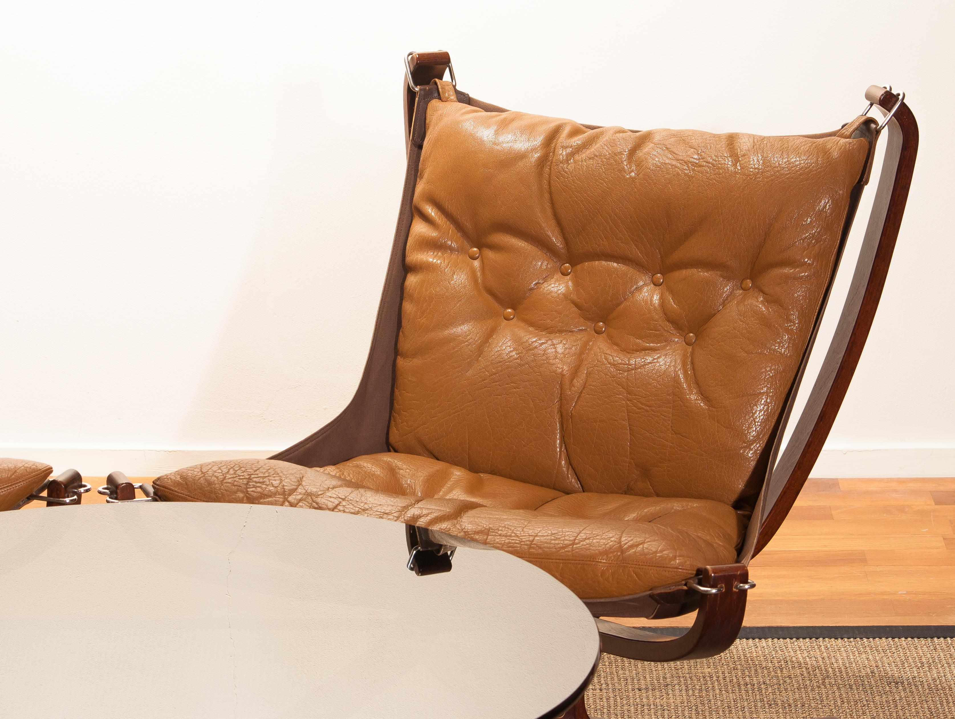 Mid Century Modern Three Camel Leather U0027Falconu0027 Lounge Chairs And Coffee  Table By