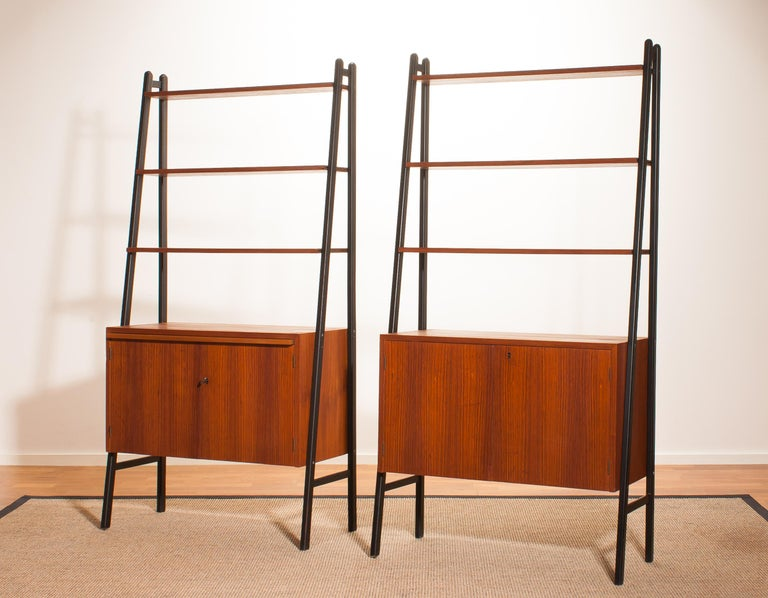 Swedish 1950s, Set of Two Teak Bookcases Room Dividers Cabinets For Sale