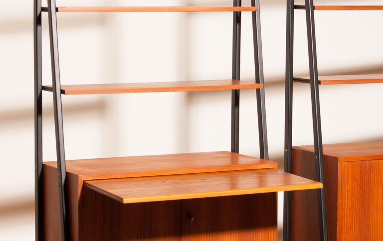 1950s, Set of Two Teak Bookcases Room Dividers Cabinets For Sale 1