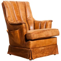 1940s, Leather Skirt Club Lounge Chair, France