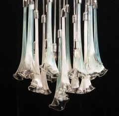 """Murano Art Glass """"Calla Flower"""" Mazzega Chromed Chandelier 1970 White Turquoise"""