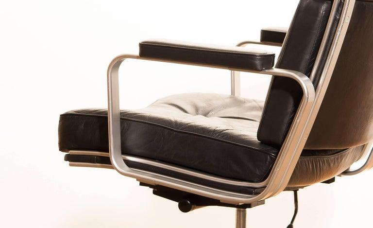1970s, Black Leather and Aluminium Desk Chair by Karl Erik Ekselius for Joc 2