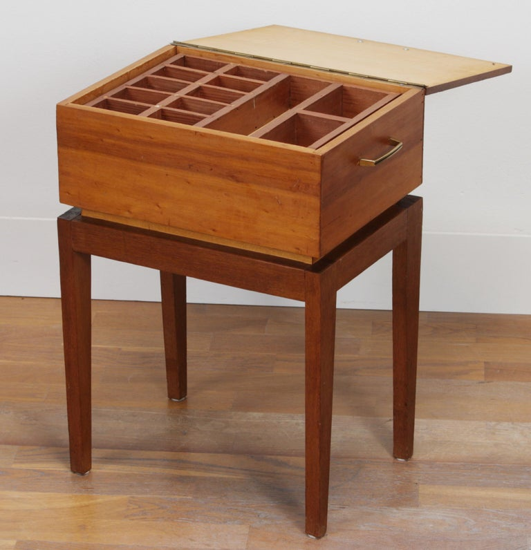 1950s Teak and Pine Sewing Side Table For Sale