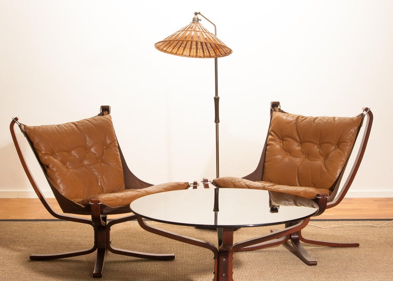 Set Camel Leather 'Falcon' Lounge Chairs and Coffee Table by Sigurd Ressell For Sale 6