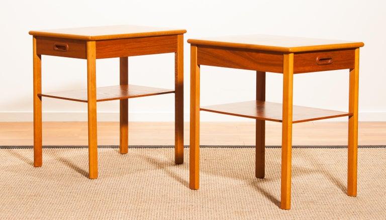 Swedish Pair of Teak Bedside Tables by Säffle, Sweden, 1950s For Sale