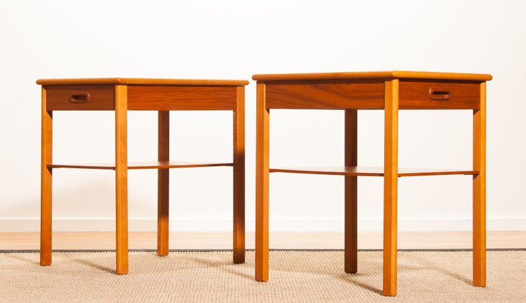 Mid-20th Century Pair of Teak Bedside Tables by Säffle, Sweden, 1950s For Sale