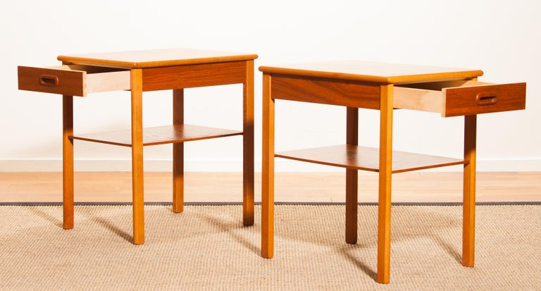 Pair of Teak Bedside Tables by Säffle, Sweden, 1950s For Sale 1