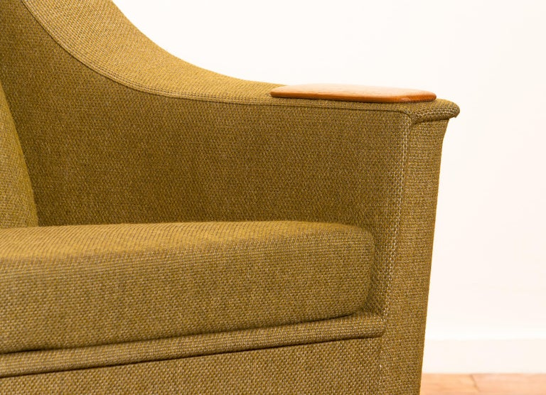 Green Upholstered Oak Lounge / Easy Chair By Folke Ohlsson
