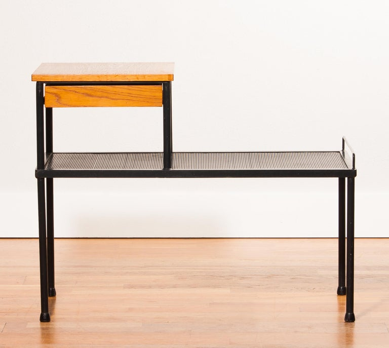 1950s Teak and Metal Side Table For Sale 1
