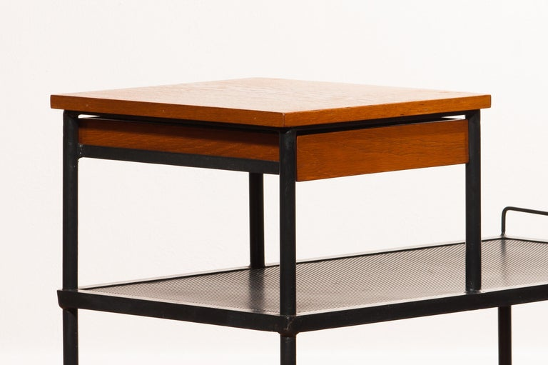 1950s Teak and Metal Side Table For Sale 2