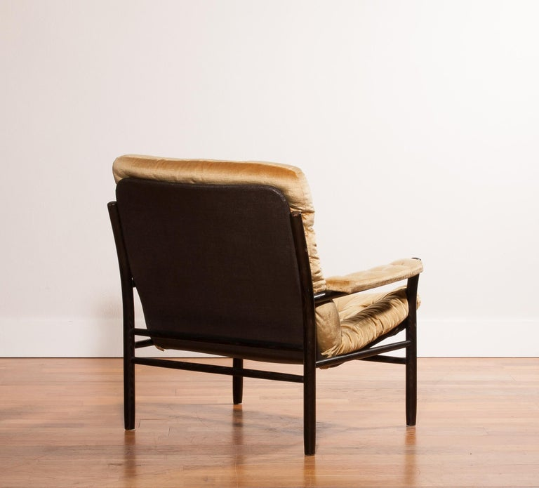 Swedish 1970s, Gold Velours Lounge Chair by Kenneth Bergenblad for DUX, Sweden For Sale
