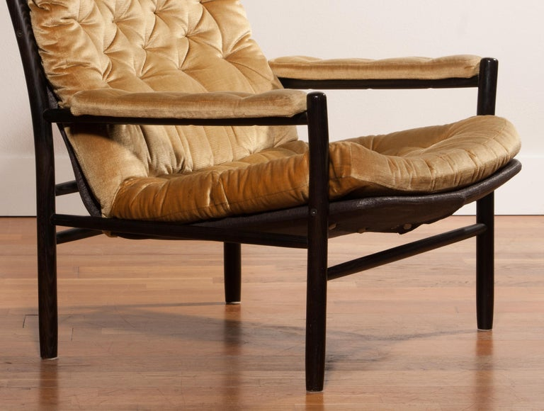Velvet 1970s, Gold Velours Lounge Chair by Kenneth Bergenblad for DUX, Sweden For Sale
