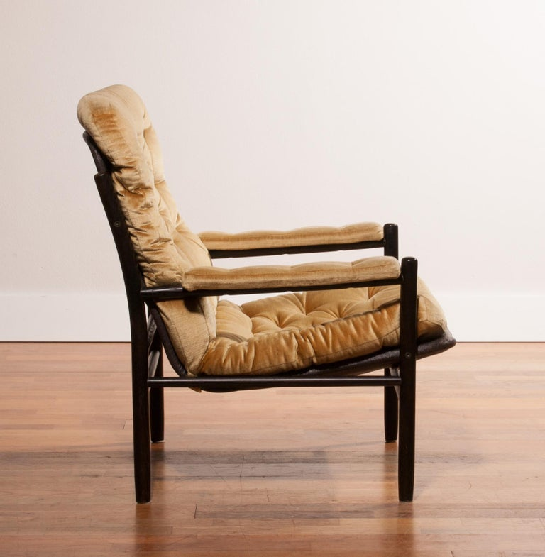 1970s, Gold Velours Lounge Chair by Kenneth Bergenblad for DUX, Sweden For Sale 4