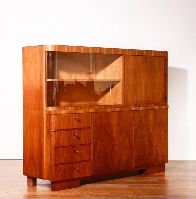 Veneer art deco secretary or cabinet in burlwood 1920s 1930s for sale