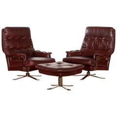 Lounge-Set, Leather Two Swivel Chairs and Ottoman by Arne Norell, circa 1960s