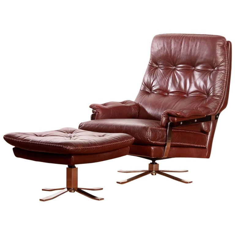 1960, Arne Norell, Lounge Chair and Ottoman, Hand-Stitched, Leather