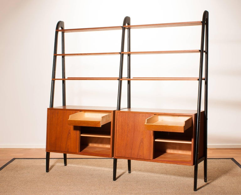 1950s, Beautiful Double Teak Bookcase Roomdivider Cabinet by Bertil Fridhagen 4