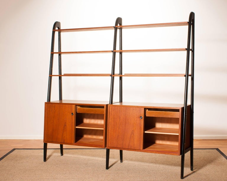 1950s, Beautiful Double Teak Bookcase Roomdivider Cabinet by Bertil Fridhagen 3