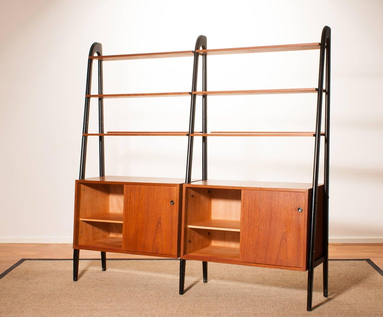 1950s, Beautiful Double Teak Bookcase Roomdivider Cabinet by Bertil Fridhagen 5