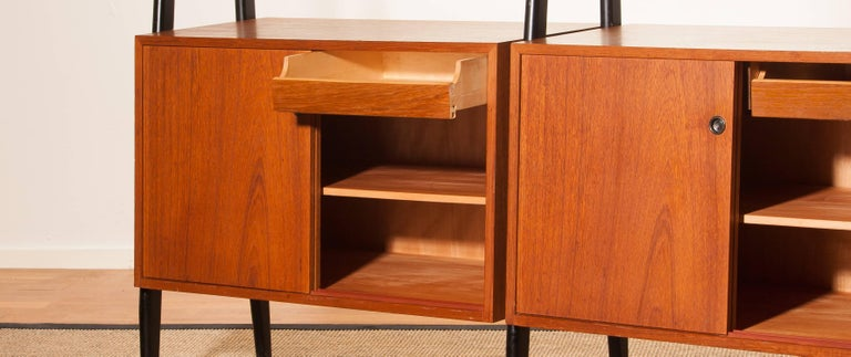 1950s, Beautiful Double Teak Bookcase Roomdivider Cabinet by Bertil Fridhagen 7