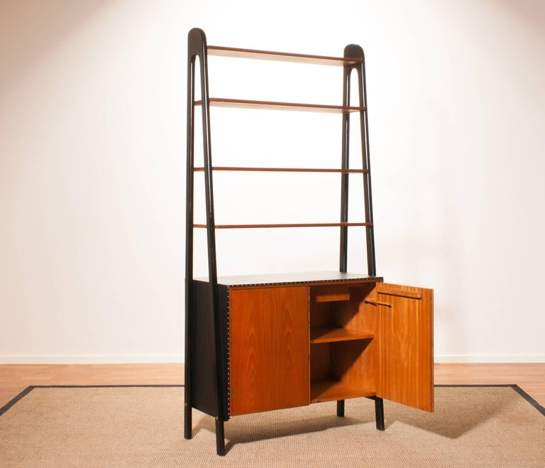 1950s, Teak and Skai Bookcase Secretaire by Bertil Fridhagen for Bodafors 3