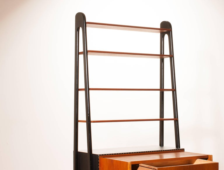 1950s, Teak and Skai Bookcase Secretaire by Bertil Fridhagen for Bodafors 9