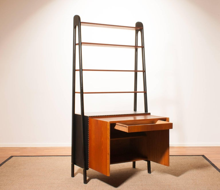 1950s, Teak and Skai Bookcase Secretaire by Bertil Fridhagen for Bodafors 6
