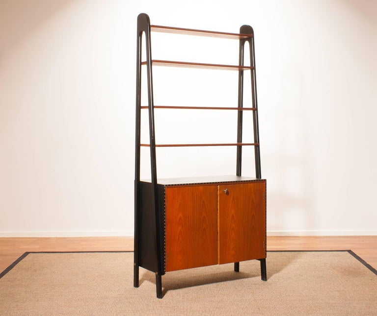 1950s, Teak and Skai Bookcase Secretaire by Bertil Fridhagen for Bodafors 2
