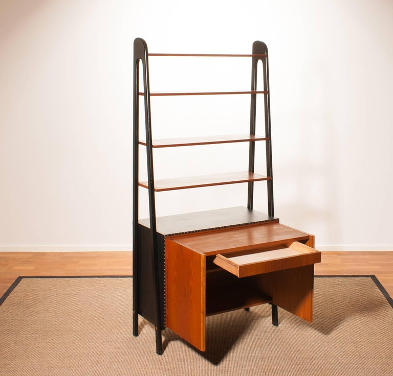 1950s, Teak and Skai Bookcase Secretaire by Bertil Fridhagen for Bodafors 7