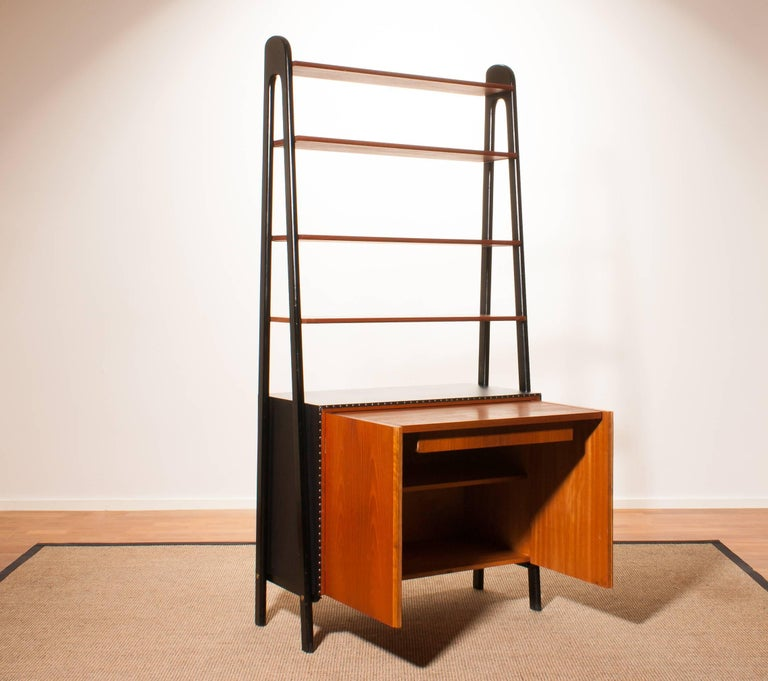 1950s, Teak and Skai Bookcase Secretaire by Bertil Fridhagen for Bodafors 5