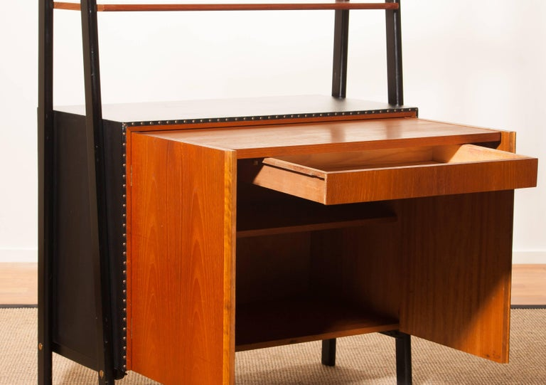 1950s, Teak and Skai Bookcase Secretaire by Bertil Fridhagen for Bodafors 8