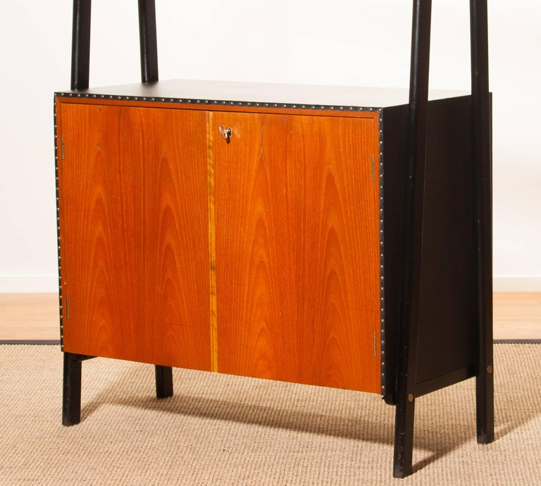 1950s, Teak and Skai Bookcase Secretaire by Bertil Fridhagen for Bodafors 10