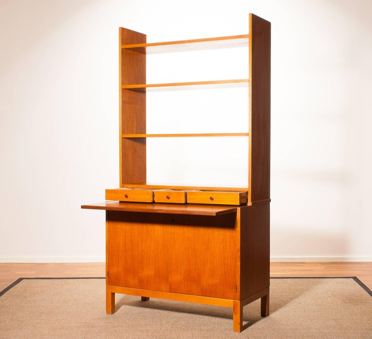 1950s, Teak Secretaire Bookcase Kitchen Cabinet 3