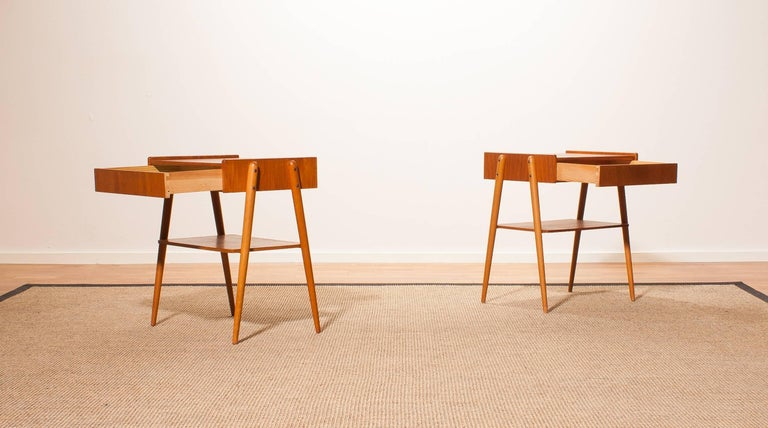1960s, a Pair of Teak Bedside Tables 3