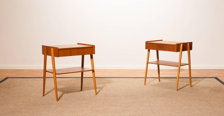 1960s, a Pair of Teak Bedside Tables 2