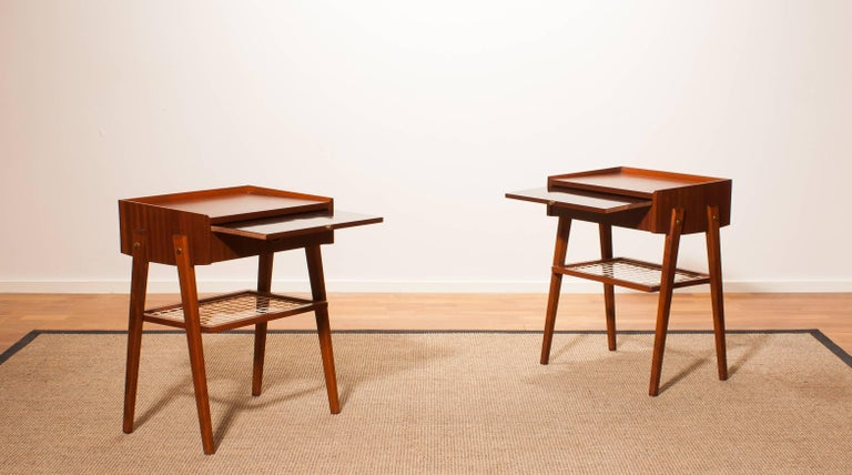 Swedish 1960s Pair of Teak and Brass Bedside Tables For Sale