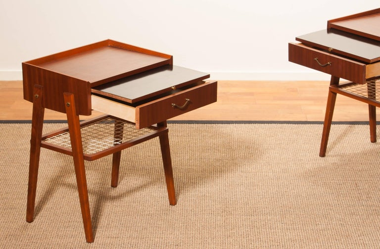 Mid-20th Century 1960s Pair of Teak and Brass Bedside Tables For Sale
