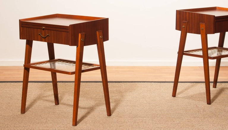 1960s Pair of Teak and Brass Bedside Tables For Sale 2