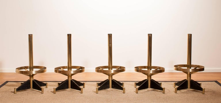 Italian 1960s, Set of Five Brass Swivel Barstools, Italy For Sale