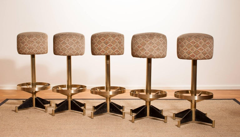 Mid-20th Century 1960s, Set of Five Brass Swivel Barstools, Italy For Sale