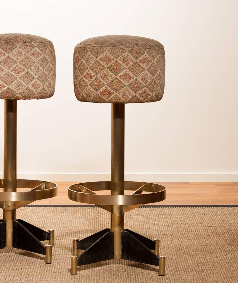 Metal 1960s, Set of Five Brass Swivel Barstools, Italy For Sale
