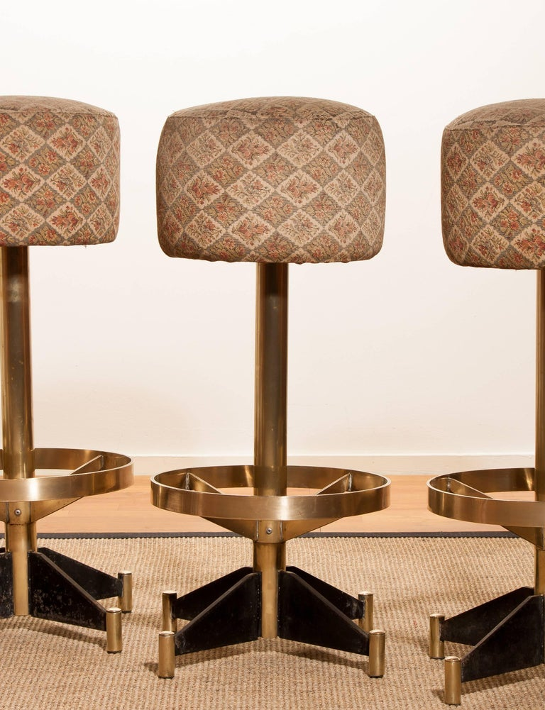 1960s, Set of Five Brass Swivel Barstools, Italy For Sale 1