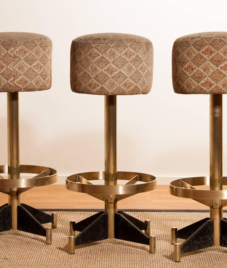 1960s, Set of Five Brass Swivel Barstools, Italy For Sale 2
