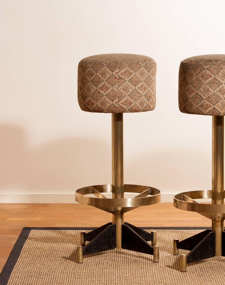 1960s, Set of Five Brass Swivel Barstools, Italy For Sale 3
