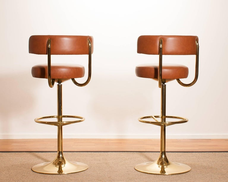 Late 20th Century 1970s, a Brass Set of Bar Stools and Bar Table by Börje Johanson For Sale