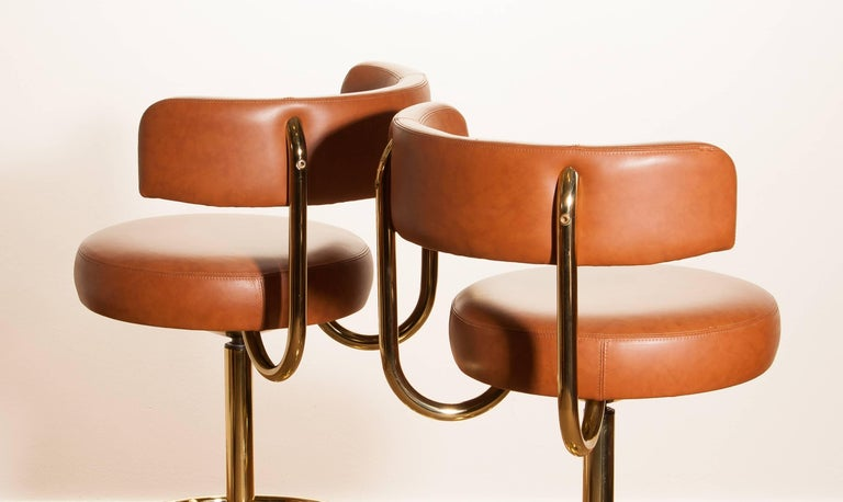 1970s, a Brass Set of Bar Stools and Bar Table by Börje Johanson For Sale 2